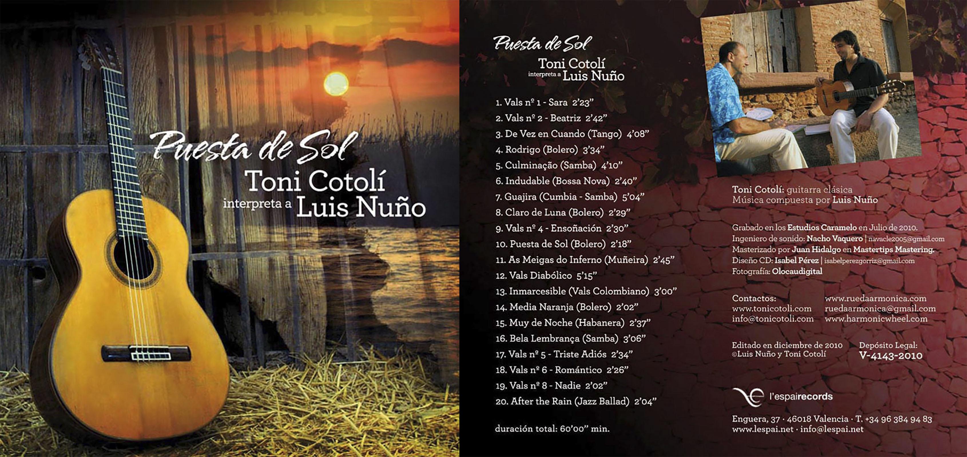 """El Concertista de guitarra Toni Cotolí nos presenta su tercer trabajo """"Puesta de Sol"""", donde estrena la obra del nuevo compositor valenciano Luis Nuño"""